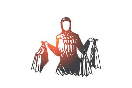 Muslim woman enjoying shopping concept sketch. Hand drawn isolated vector