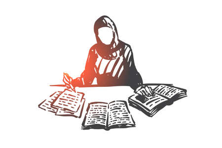 Education of Muslim woman concept sketch. Hand drawn isolated vector