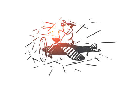 VR simulation, piloting concept sketch. Hand drawn isolated vector