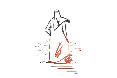 Muslim footballer concept sketch. Arab man with foot on ball playing soccer, enjoying outdoor activities, businessman doing sports, relaxing, having leisure time. Hand drawn isolated vector