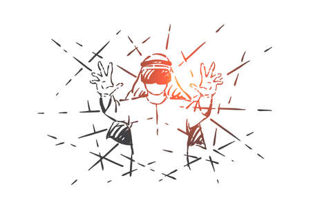 Muslim enjoying VR gaming concept sketch. Excited Arab man wearing virtual reality headset, amazed businessman testing augmented reality, cyberspace, simulation experience. Hand drawn isolated vector