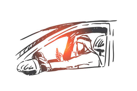 Muslim man driving car, holding smartphone in hand concept sketch. Busy wealthy Arab businessman checking messages and notifications sitting in vehicle driving seat. Hand drawn isolated vector Illustration