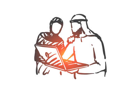 Business meeting, teamwork and cooperation concept sketch. Muslim business partners watching presentation on laptop, Arab workers, colleagues discussing project. Hand drawn isolated vector