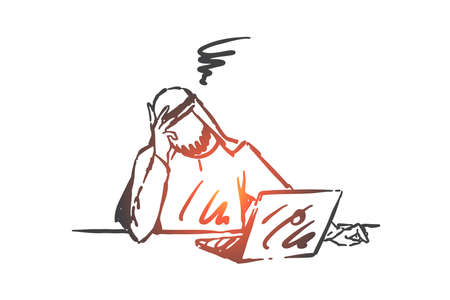 Stress, depression, burnout concept sketch. Headache, business crisis, fatigue, exhausted arab businessman working overtime, tired muslim office worker under pressure. Hand drawn isolated vector Illustration