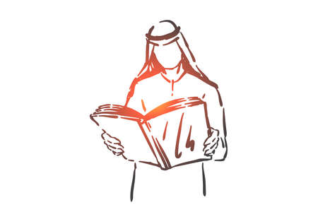Literature hobby, education concept sketch. Intellectual leisure, knowledge gaining, learning process, arab student holding open textbook, muslim man reading book. Hand drawn isolated vector
