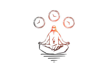 Meditation and relaxation concept sketch. Hand drawn isolated vector