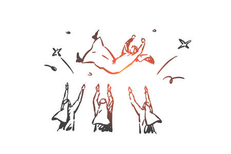 Celebrating victory, praising winner concept sketch. Hand drawn isolated vector