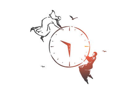 Time management, teamwork concept sketch. Hand drawn isolated vector
