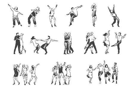 Gente bailando al esbozo del concepto de música. Vector aislado dibujado a mano