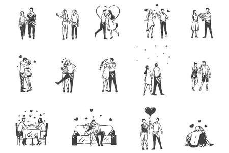 Amor, bosquejo del concepto de gente enamorada. Vector aislado dibujado a mano Ilustración de vector