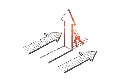 Business opportunity, pathway choosing concept sketch. Hand drawn isolated vector Çizim
