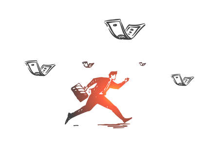 Career and money pursuit concept sketch. Hand drawn isolated vector