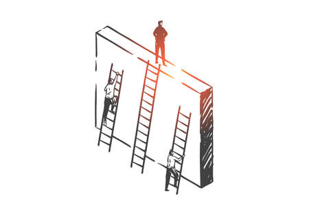 Competition and success achievement concept sketch. Business people climbing career ladders, professional growth, office rivalry and work promotion metaphor. Hand drawn isolated vector Çizim
