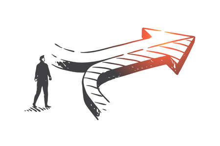 Decision making, achieving results concept sketch. Businessman and converging arrows, company development opportunity, corporate growth strategy metaphor. Hand drawn isolated vector 일러스트