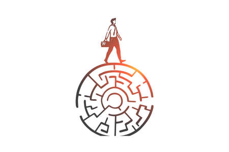 Problem solving, decision making concept sketch. Businessman and circular maze, overcoming obstacle, accepting challenge metaphor, finding way to success. Hand drawn isolated vector