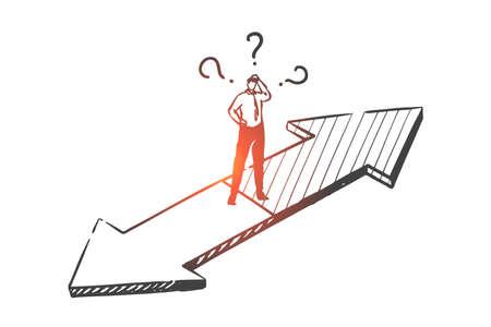 Konzeptskizze zur Entscheidungsfindung. Handgezeichneter isolierter Vektor