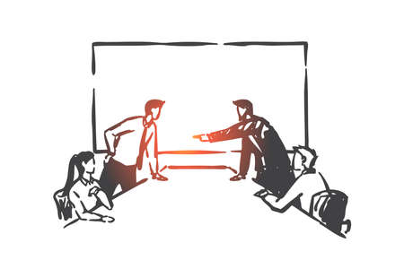 Business conflict, directors board competition concept sketch. Hand drawn isolated vector