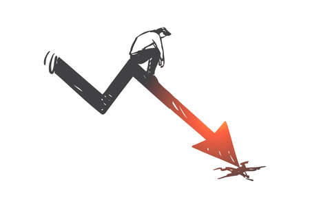 Business loss, graph arrow decline, bankruptcy concept sketch. Hand drawn isolated vector