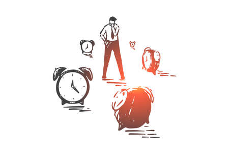 Time management, planning and effectiveness concept sketch. Hand drawn isolated vector Illustration