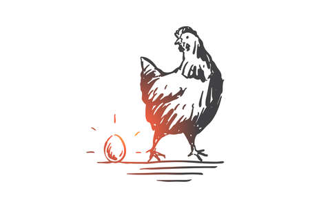 Chicken and egg, livestock, poultry concept sketch. Hen, domestic bird, agronomy industry, agriculture and husbandry, business investment profit metaphor. Hand drawn isolated vector Illustration