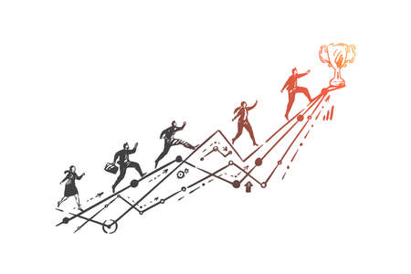 Leadership, business competition, race concept sketch. Corporate worker character reaching trophy, office employees running on graph arrow, team leader metaphor. Hand drawn isolated vector
