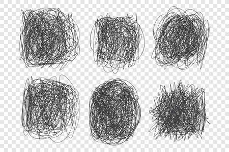 Tangled scribbles vector illustrations set