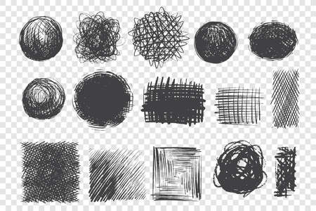 Round and square shape scribbles hand drawn doodle set