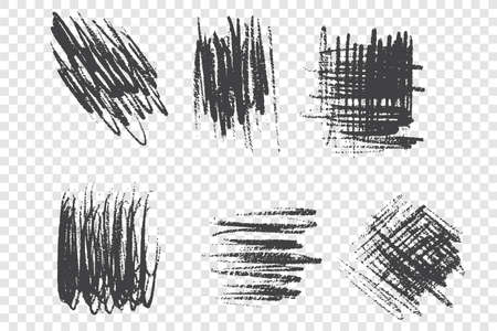 Brushstroke scribbles vector illustrations set. Messy smears pack. Grunge ink freehand drawings isolated on transparent background. Monochrome black paint strokes design elements collection