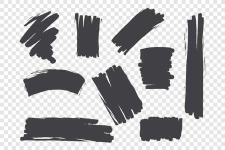 Chaotic brush strokes vector illustrations set. Monochrome black paint drawings, random ink blobs pack. Grunge freehand stains isolated on transparent background. Abstract smudges design elements