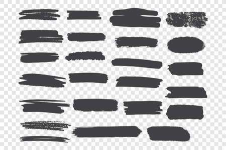 Brushstroke smudges vector illustrations set. Black paint drawings, horizontal blobs pack. Grunge ink freehand smears isolated on transparent background. Monochrome stains design elements