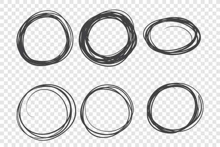 Round hand drawn frames set Stock Illustratie