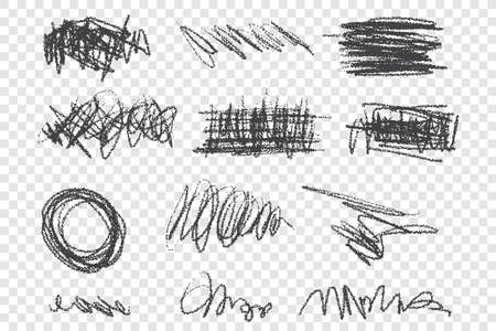 Grunge scribbles vector illustrations set. Dirty black strokes pack, messy freehand drawings. Scrawls with dry paint effect isolated on transparent backdrop. Chaotic charcoal sketches collection