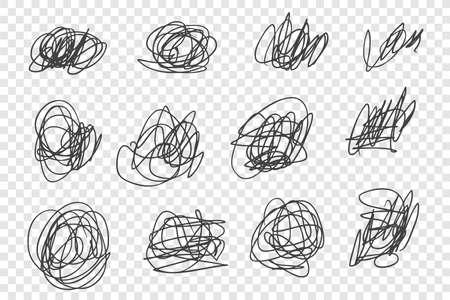 Ensemble d'illustrations vectorielles de gribouillis enchevêtrés chaotiques. Coups de stylo à encre bâclée, pack de gribouillis aléatoires. Divers nœuds de fine ligne noire isolés sur fond transparent. Collection de dessins de griffonnage enfantins