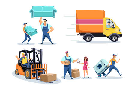 Moving house, furniture delivery workers, people relocating stuff concept