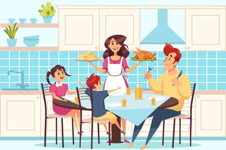 Family with children sitting at dining table, people having dinner together concept