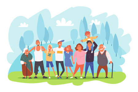 Big family portrait, parents with children, grandparents and grandchildren hugging each other concept. Few generations posing for photo together outdoors cartoon. Simple flat vector Ilustrace