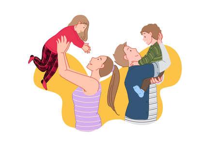 Happy family, joyful meeting, kids time concept