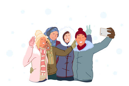 Friendship, hugs, weekend in winter concept. Happy friends take selfies and laugh. Guys and girls are photographed on a mobile phone outdoors in winter. Simple flat vector