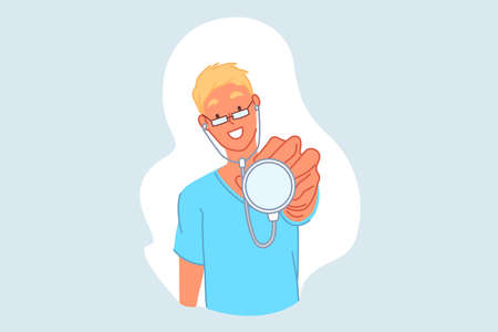 Doctor, pediatrician, therapist, medicine concept. Smiling young man with phonendoscope, physician holding medical device, outpatient hospital intern, medical student. Simple flat vector