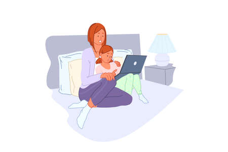 Family leisure, computer training, home entertainment, pc learning concept. Smiling people in pajamas, mother and daughter with laptop, parent and kid using computer in bedroom. Simple flat vector