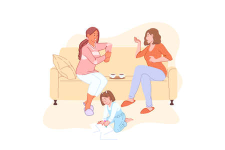 Home leisure, family weekend, communication, tea time, lunchtime concept. Adult women with teacups on sofa, child playing on floor, friendly conversation, babysitting. Simple flat vector