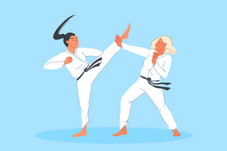 Sport competition, combat, athlete training, martial arts concept. Fighting judo sportsmen in kimono, male karate contest, blow practicing, kick and impact block. Simple flat vector