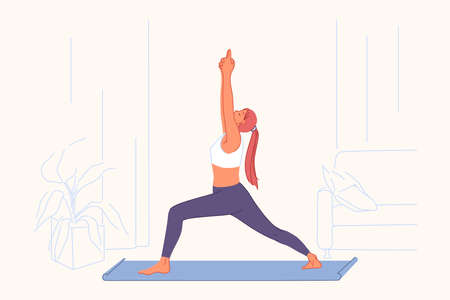Sport exercises, yoga practice, active lifestyle concept. Young woman doing gymnastics on mat, athletic training, fitness, gym workout, good stretch and health signs. Simple flat vector