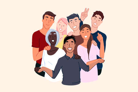 Friendship of nationalities, cosmopolite society, international community concept. Smiling young people, male and female different nations representatives, multinational unity. Simple flat vector