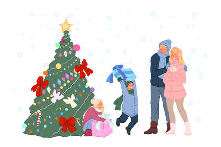 New Year celebration, childish gifts under Xmas tree, winter family walk concept