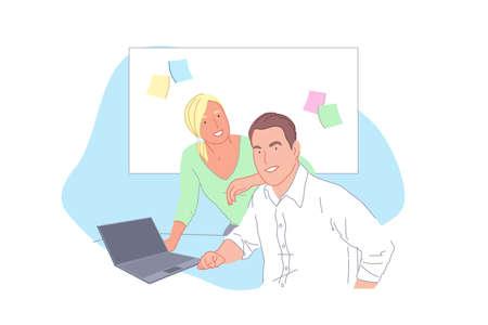 Business project development, staff cooperation, partnership, teamwork concept