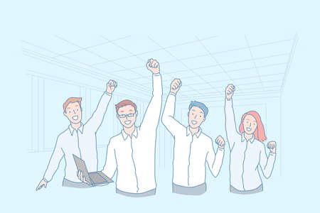Business, teamwork, win, achievement, excellence concept
