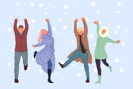 Outside walk with friends, winter entertainment, snowy weather recreation concept Stock Illustratie