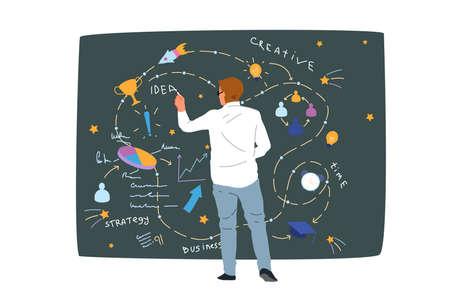 Business strategy, data analysis, creative idea generation, work time optimization concept