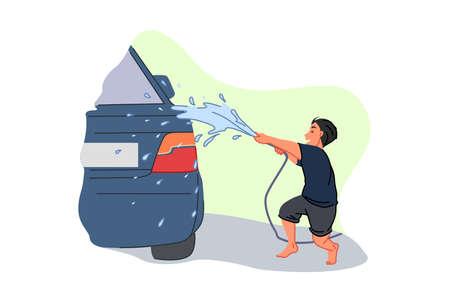 Car wash service, earning pocket money, parent helper, child labour concept